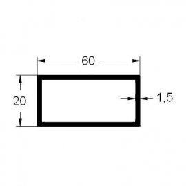Tubo rectangular 60x20 en aluminio