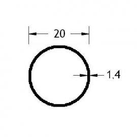 Tubo redondo 20 en aluminio