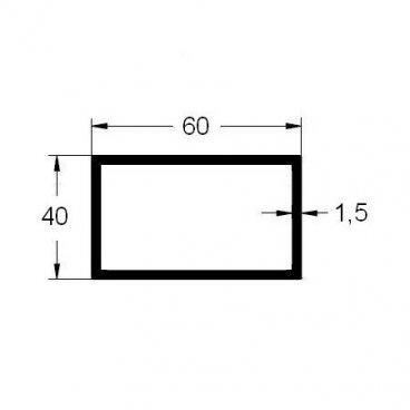 Tubo rectangular 60x40 en aluminio