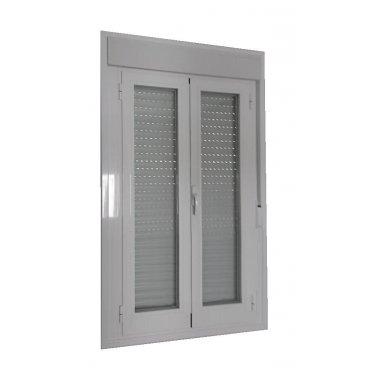 Puerta aluminio RPT 2 hojas abatible con persiana