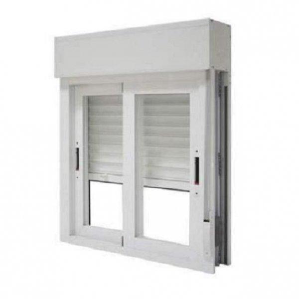 Ventana aluminio 2 hojas corredera con persiana for Marcos de ventanas de aluminio