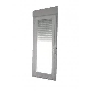 Puerta aluminio 1 hoja abatible con persiana